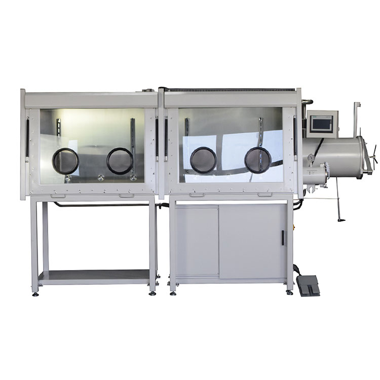 Dual chamber glove box with gas purification system and openable left front window