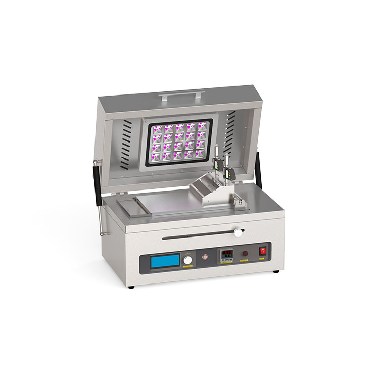 Small tape casting coater with top UV and bottom heating