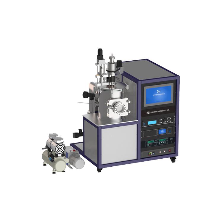 Dual target upper sputtering DC RF magnetron sputtering coating machine