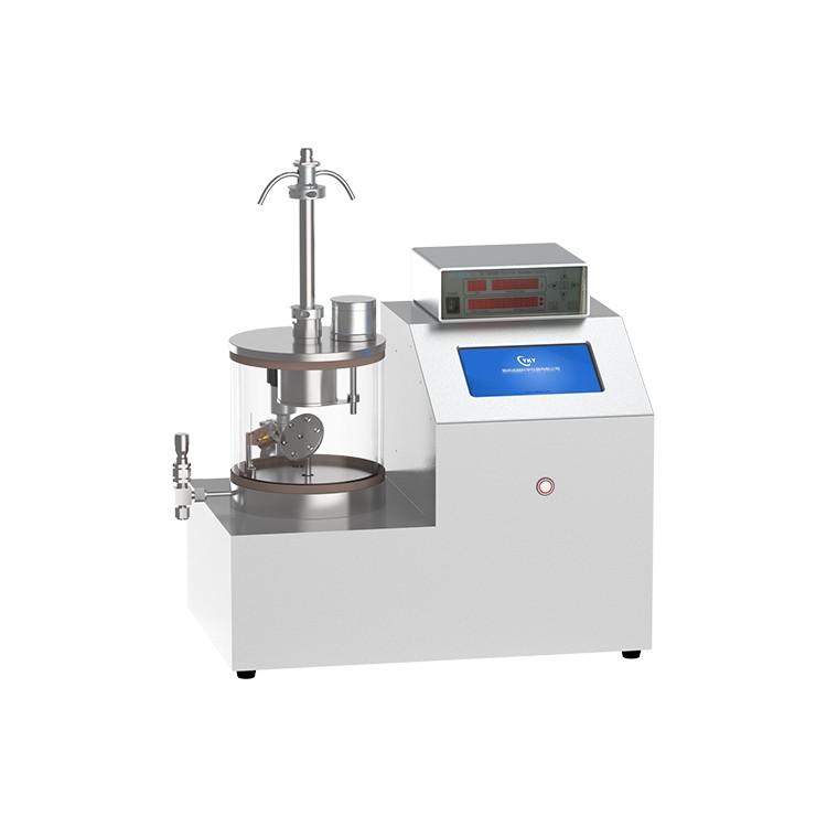 Single target magnetron sputtering coater with tiltable sample stage