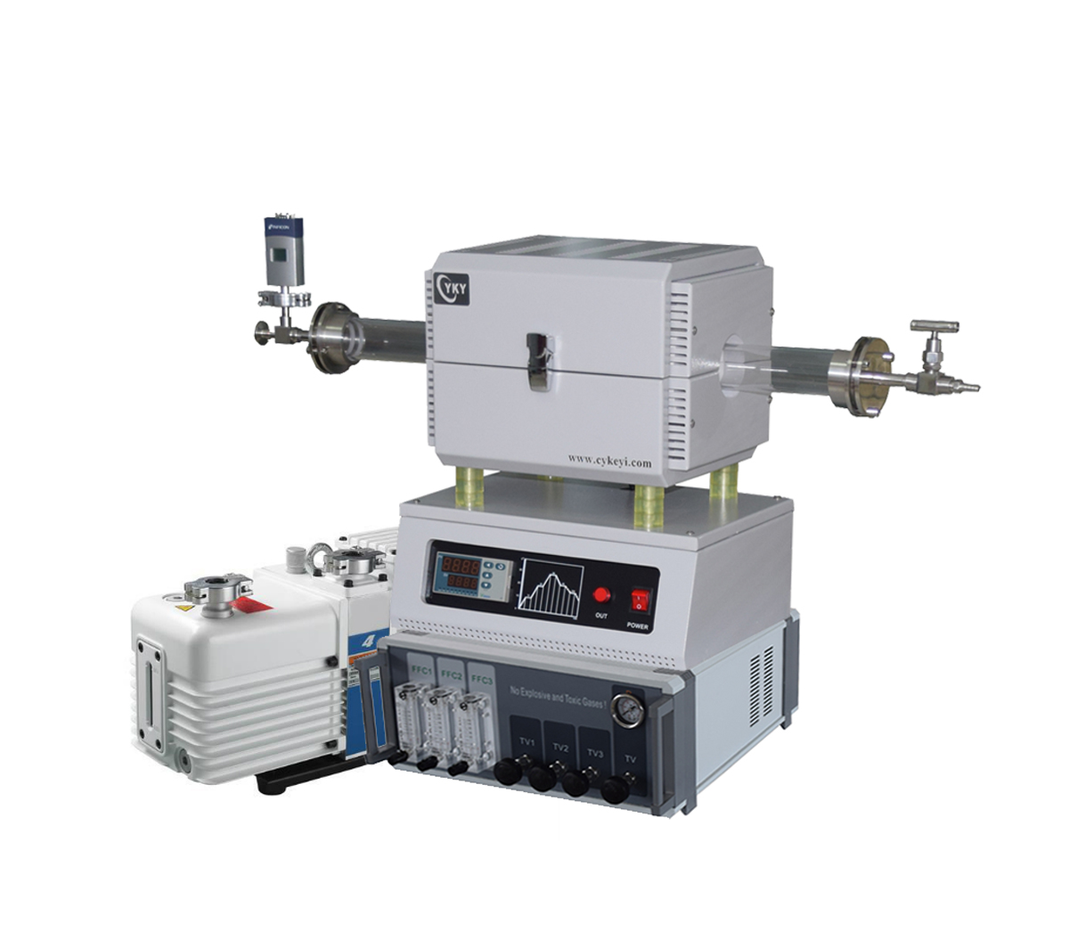 Compact CVD system with 1200°C tube furnace 3 gas way float flow controller-CY-O1200-50IC-3F