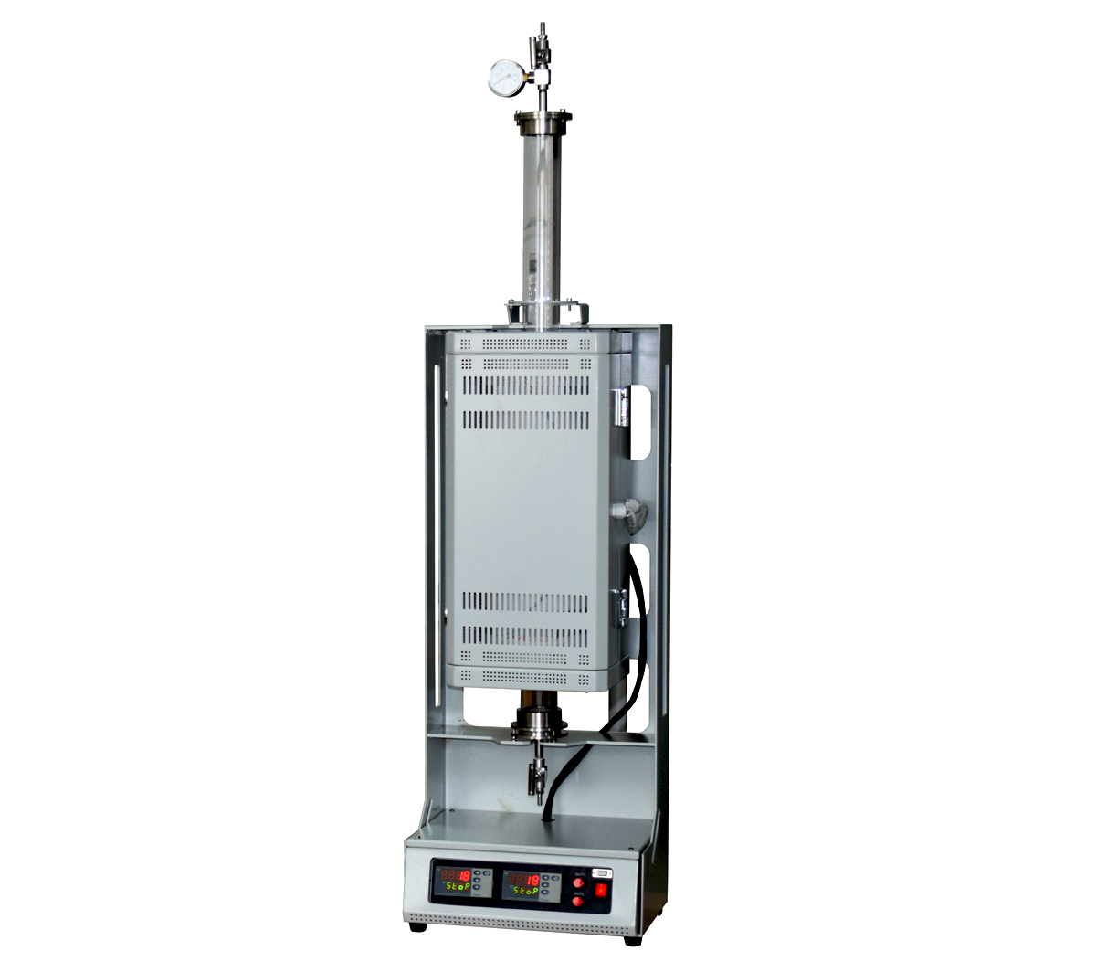 """Compact 1200℃ two heating zone vertical tube furnace with 1"""" quartz chamber CY-V1200-25IIC"""