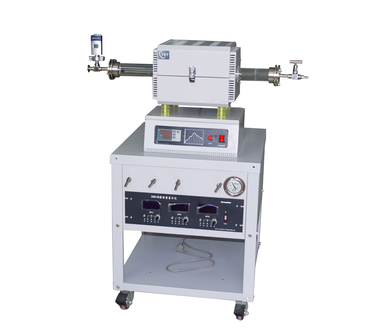 """Compact CVD Tube Furnace with 2""""OD Quartz tube furnace and 3 gas mixer CY-O1200-50IS-3Z10V"""