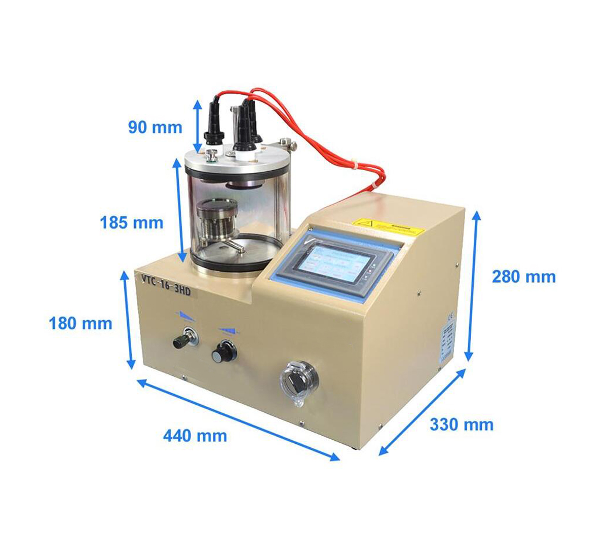 3 Rotary Target Plasma Sputtering Coater with Substrate Heater (500 ℃) Including 3 Targets VTC-16-3HD
