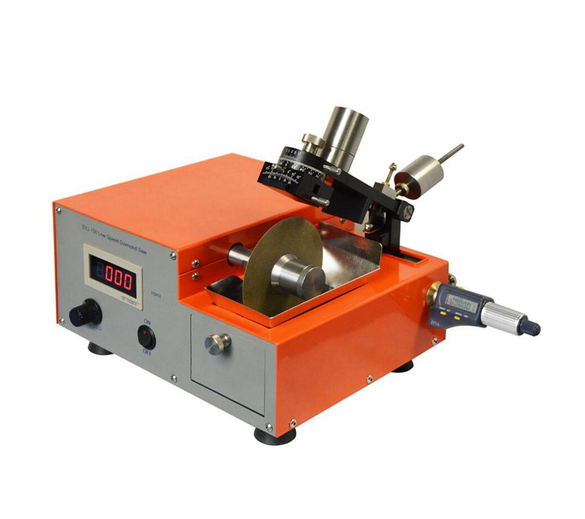 """Digital Low Speed Diamond Saw with Three 4"""" Precision Blades & Complete Accessories - SYJ-150"""