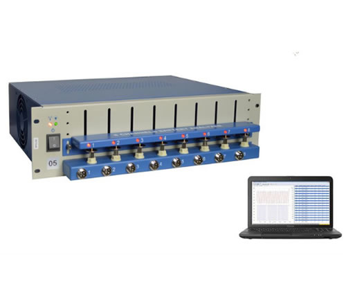 8 Channel Battery Analyzer (0.02 -10 mA, upto 5V) W for Small Coin Cells and Cylindrical Batteries