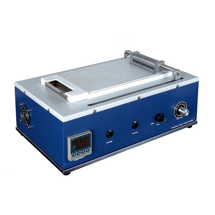 Mini tape casting coater with heated vacuum bed and pump