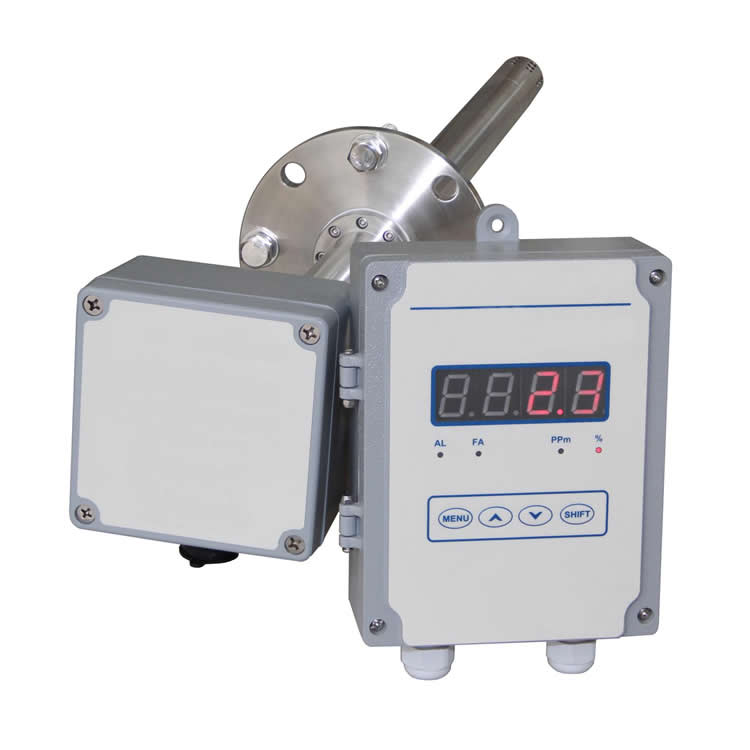 Split type flue oxygen analyzer