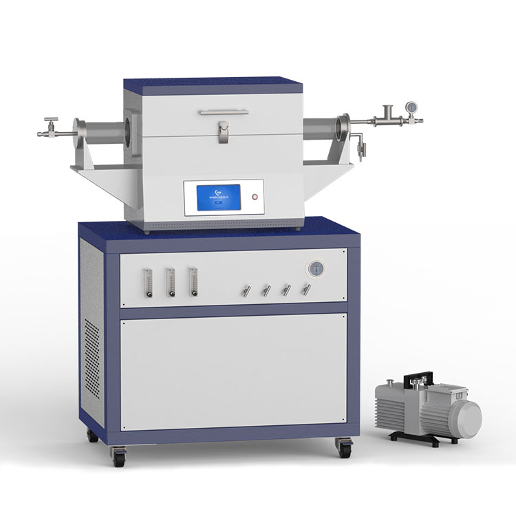 1200℃ two heating zone low vacuum CVD system with 3-channel float flow meter to supply gas CY-O1200-50IIT-3F-LV