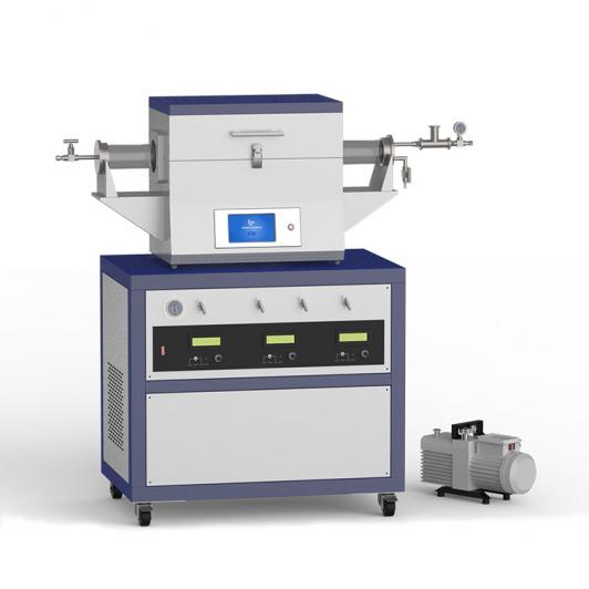 1200℃ two heating zone low vacuum CVD system with 3-channel mass flow meter CY- O1200-50IIT-3Z-LV